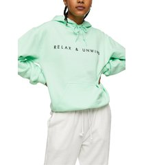 women's topshop relax & rewind hoodie, size small - green