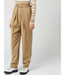 jw anderson women's belted tapered trousers - beige - uk 8