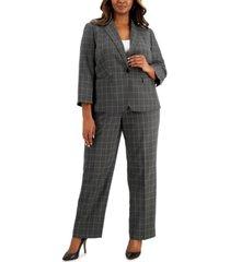 le suit plus size windowpane zip-pocket pantsuit