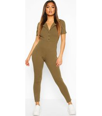 soft ribbed collar detail button through jumpsuit, khaki