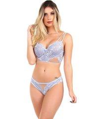 conjunto imi lingerie com bojo cropped em renda e tule diamante azul - azul/multicolorido - feminino - renda - dafiti