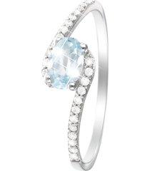anello in oro bianco 18 kt, topazio e zirconi per donna