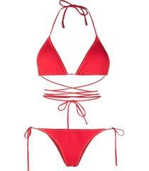 reina olga wrap-design bikini with metallic stitching - red