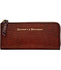 dooney & bourke lizard embossed leather continental zip clutch wallet