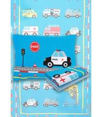 jogo de cama  3 pã§s solteiro lepper truck azul - azul - menino - dafiti