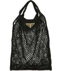 prada pre-owned triangle logo mesh tote bag - black