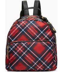 tommy hilfiger women's diamond plaid backpack red multi -