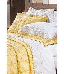 cobre leito bernadete casa bordado queen size 3 peças nuance - amarelo