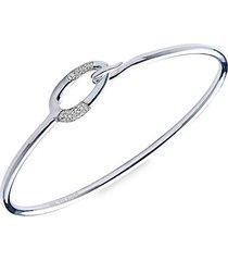 cherish silver & diamond link bangle bracelet