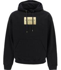versace plaque print hoodie