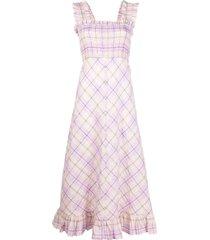 ganni seersucker check braced dress