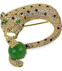 18k goldplated & crystal panther brooch