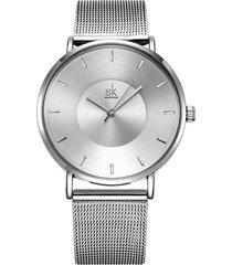 reloj mujer lujo ultra delgado elegante shengke 0059 plateado