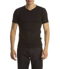 petrol t-shirt basic v-neck black ( 4p)