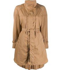 twin-set casaco impermiável com amarração - marrom