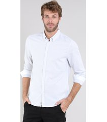 camisa masculina comfort listrada manga longa off white