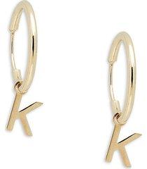 saks fifth avenue made in italy women's 14k yellow gold k-charm huggie earrings