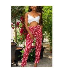 trendy zomer broek met polka stippen rood
