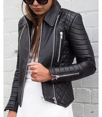 new handmade leather skin women black padded quilted brando leather jacket