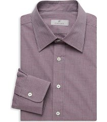 canali men's modern-fit checked dress shirt - dark red - size xxl