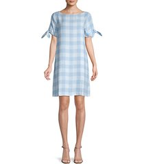tie-sleeve gingham shift dress