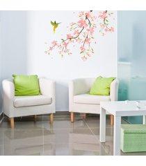 adesivo de parede beija flor direita - rosa - dafiti