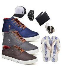 kit 3 pares sapatênis polo blu casual cano alto e cano baixo azul/cinza/café acompanha boné + cinto + meia + carteira + relógio + chinelo