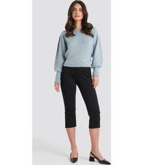 na-kd elastic waist front seam pants - black