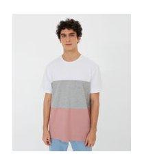 camiseta manga curta lisa com recortes   blue steel   branco   pp