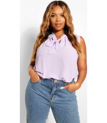 plus pussybow sleeveless blouse, mauve