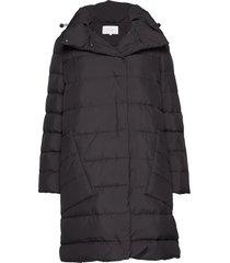 vicamisha down long coat gevoerde lange jas zwart vila