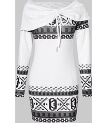 cowl neck geometric print sheath dress
