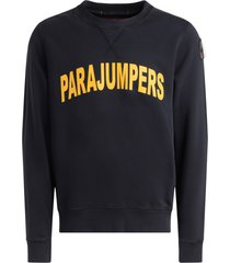 parajumpers caleb sweatshirt in black cotton with yellow logo