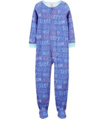 carter's big girl 1-piece not sleepy fleece footie pjs