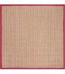 safavieh natural fiber brown and red 6' x 6' sisal weave square rug