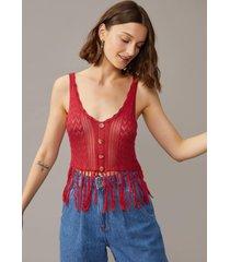 regata amaro tricot com franjas vermelho escuro - vermelho - feminino - dafiti