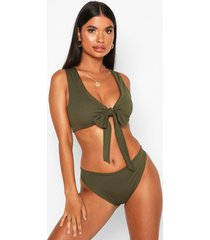 petite rib high leg bikini brief, khaki