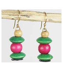 wood and recycled plastic dangle earrings, 'raspberry bush' (ghana)