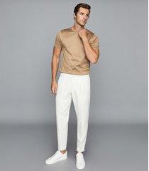 reiss bedford - mercerised cotton crew neck t-shirt in camel, mens, size xxl