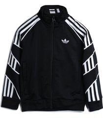 jaqueta adidas originals menino listrada preta
