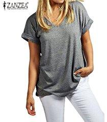 zanzea moda verano t camisas manga corta nueva floja ocasional tes de las tapas más el tamaño de cuello en v camisetas -gris