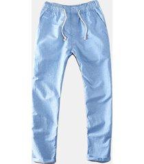 pantaloni sciolti in lino-cotone traspirabile cou coulisse con stile cinese