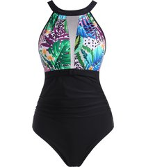 high neck leopard leaf print mesh panel ruched one-piece swimsuit