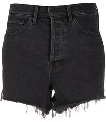 3x1 frayed hem denim shorts - black