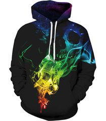 top designed hoodies men/women 3d sweatshirts print colorful smoke skulls thin