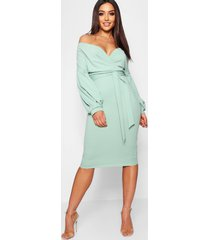 off the shoulder wrap midi bodycon dress, sage