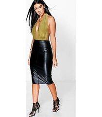 loren leather look midi skirt