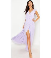frill wrap detail chiffon maxi bridesmaid dress, lilac