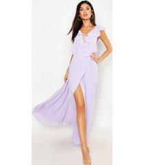 chiffon maxi bruidsmeisjes jurk met franjes en wikkel detail, lila
