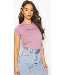 addicted to love slogan t-shirt, violet